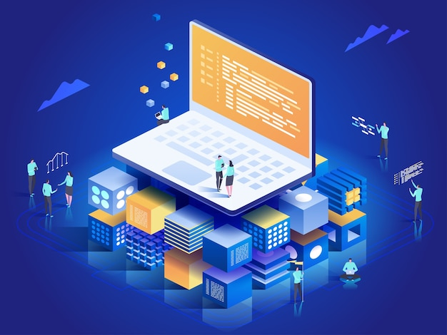 Software, web development, programming concept. people interacting with laptop,  charts and analyzing statistics. technology process of software development.  isometric illustration