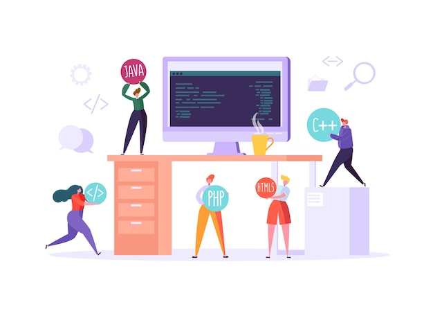 Software and web page programming concept. programmer characters working on computer with code on screen. freelancer workplace coding.