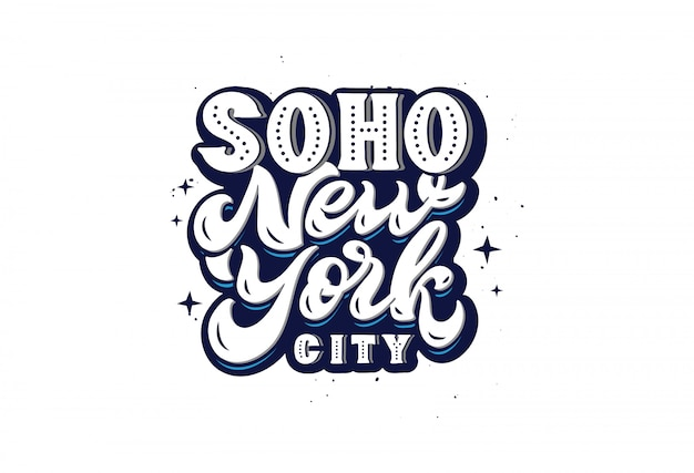 Soho new york city logo, hand drawn lettering phrase isolated ,  illustration