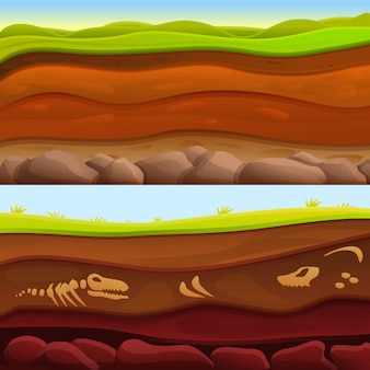Soil ground banner set, cartoon style