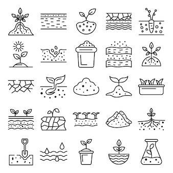 Soil ground icons set, outline style