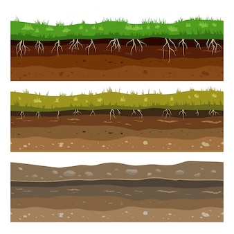 Soil ground layers. seamless campo ground dirt clay surface texture with stones and grass.