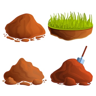 Soil icons set, cartoon style