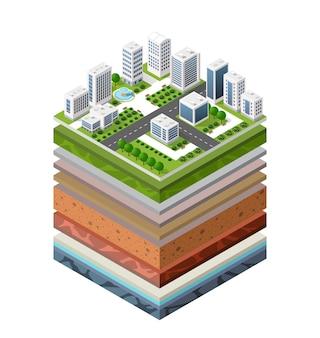 Геологические и подземные слои почвы в разрезе под природным ландшафтом изометрический срез земли расширены органическими, песчаными, глинистыми слоями городской среды