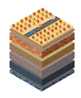 土壌層は、都市環境の拡張された有機、砂、粘土層の土地の自然景観等角スライスの下の地質学的および地下の断面