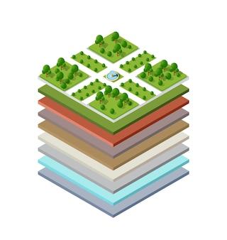 Геологические и подземные слои почвы в разрезе под природным ландшафтом изометрический срез земли с протяженными органическими, песчаными, глинистыми слоями городской среды