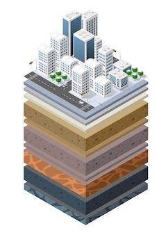 土壌層は、都市環境の拡張された有機、砂、粘土層の土地の自然景観等尺性スライスの下の地質学的緑草と地下土壌層の断面