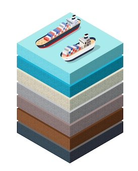 Soil layers sea surface ship cross section geological and underground soil layers beneath nature landscape isometric slice of the land's extended organic, sand, clay layers