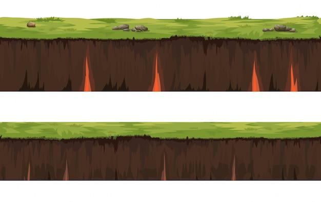 土壌シームレス層グランド層。石や土の草。