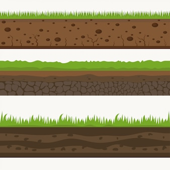 Soil seamless layers ground layer. stones and grass on dirts.