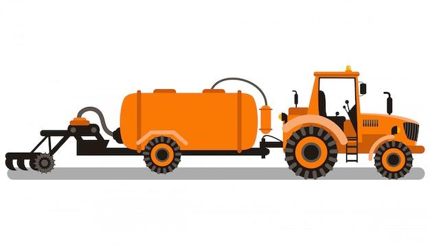 Soil tillage machine color vector illustration
