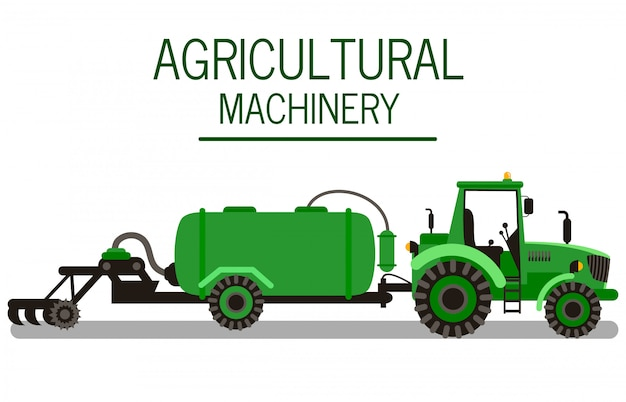 Soil tillage machine flat vector illustration