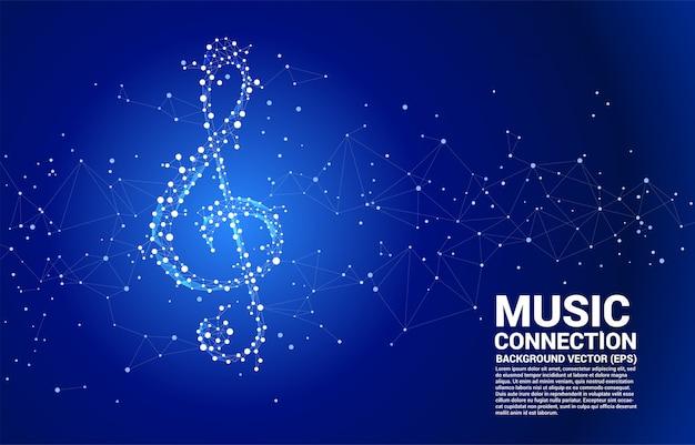 Примечание ключа музыки sol вектора от точки соединяет линию.