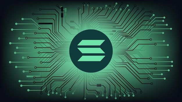 Символ токена криптовалюты solana sol в круге на абстрактном цифровом фоне с дорожками pcb. значок монеты валюты. векторная иллюстрация.