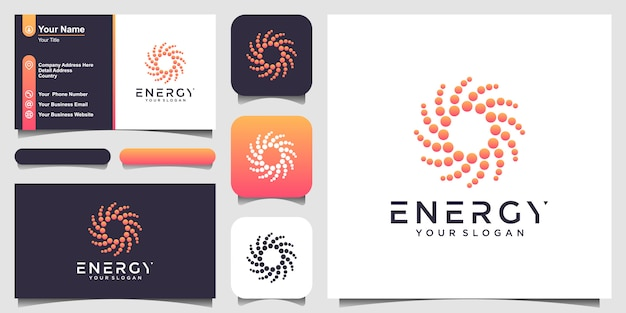Solar abstract round shape logo and business card . dotted stylized sun logotype  illustration.
