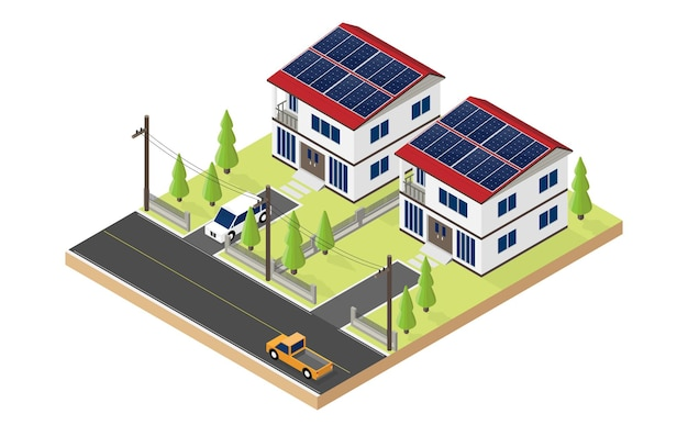 Solar cell energy, house use solar cell roof top in isometric Premium Vector