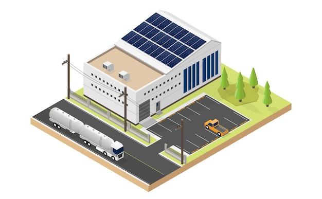 태양 전지 에너지, 산업은 아이소메트릭 뷰에서 태양 전지 지붕 상단을 사용합니다.