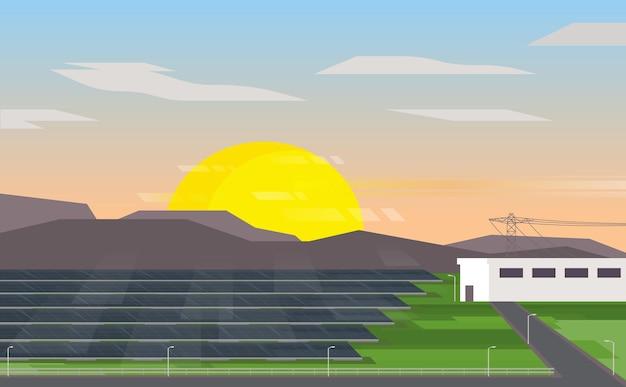 태양 전지 에너지, 일몰과 함께 태양 전지 발전소