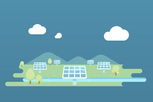 Solar cell farm landscape illustration.