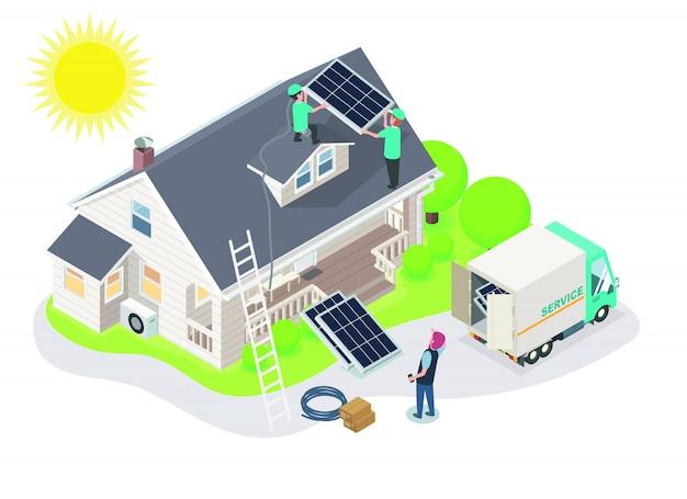 Установка службы группы солнечных батарей для нового клиента изометрический дизайн