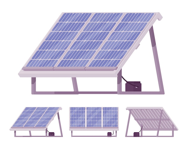 Solar cells panel kit with battery illustration