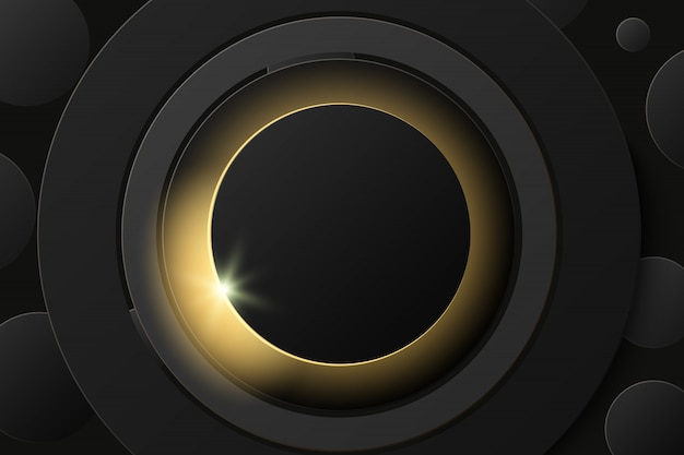 Solar eclipse, abstract black ring on black background. round banner frame with place for text.
