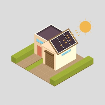 Solar energy  concept illustration with house.