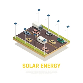 Solar energy concept with cars batteries and road isometric