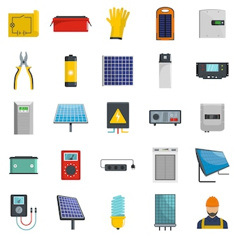 Solar energy equipment icons set vector isolated