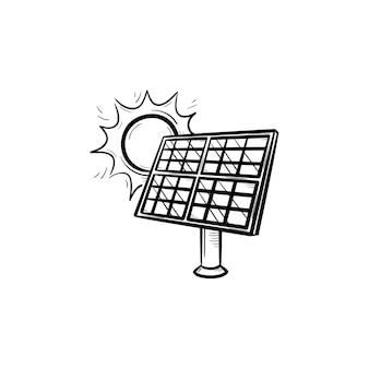 Солнечная энергетика рисованной наброски каракули значок. значок эскиза для экологии и дизайна окружающей среды. панели солнечных батарей векторные иллюстрации для печати, мобильных и инфографики, изолированные на белом фоне.