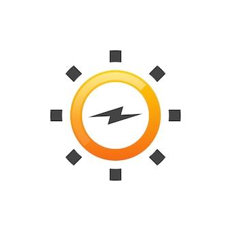 태양 에너지 로고 디자인 벡터, 태양 전력 로고