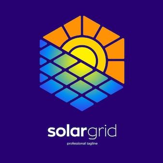 太陽エネルギーパネルのロゴテンプレート
