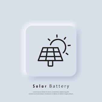 Solar energy panel. power battery icon. solar power green energy icon. vector. ui icon. neumorphic ui ux white user interface web button. neumorphism