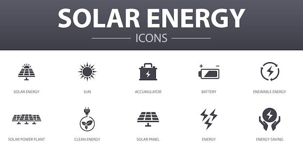 태양 에너지 간단한 개념 아이콘을 설정합니다. sun, 배터리, 재생 에너지, 청정 에너지 등의 아이콘이 포함되어 있으며 웹, 로고, ui/ux에 사용할 수 있습니다.