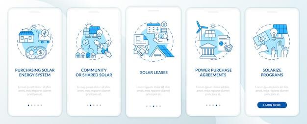 태양 에너지 솔루션. 개념이있는 에너지 온 보딩 모바일 앱 페이지 화면의 리소스입니다. 태양 광 연습 단계. ui 템플릿 일러스트레이션