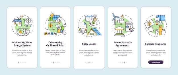 Solar energy solution. source of energy onboarding mobile app page screen with concepts