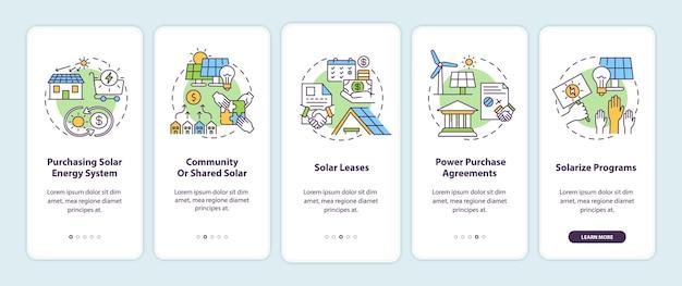 태양 에너지 솔루션. 개념이있는 에너지 온 보딩 모바일 앱 페이지 화면