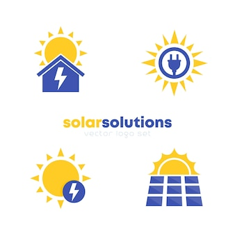 Solar energy solutions logo set