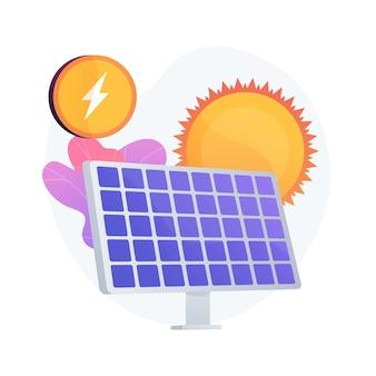 태양 에너지 기술. 대체 자원, 녹색 전기, 재생 가능 에너지. 태양 전지, 혁신적인 발전 장비.