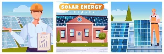Солнечная энергия три плоских иллюстрации с мужчинами, работающими над установкой солнечной батареи на крыше изолированной иллюстрации