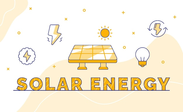 Solar energy typography calligraphy word art with outline style
