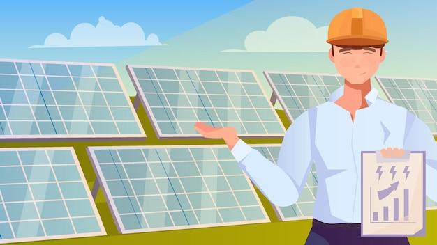 Солнечная ферма с персонажем рабочего, показывающим ряды солнечных панелей, установленных в поле