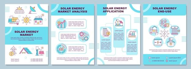 태양 광 시장 에너지 템플릿. 청정 에너지 생산. 전단지, 소책자, 전단지 인쇄, 선형 아이콘이있는 표지 디자인. 잡지 레이아웃, 연례 보고서, 광고 포스터