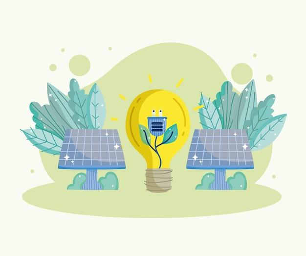 Солнечная панель и энергия лампочки