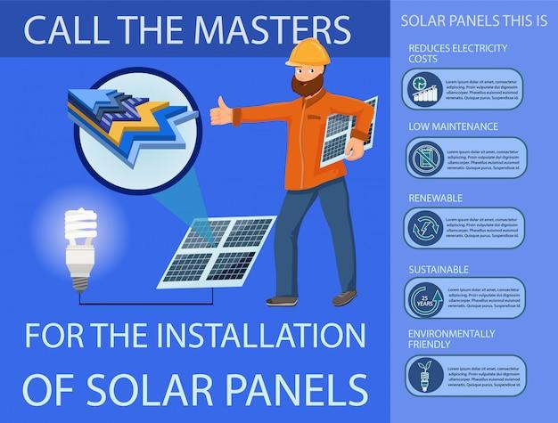 Солнечная панель и система производства электроэнергии Premium векторы