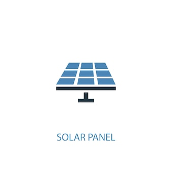 Концепция панели солнечных батарей 2 цветных значка. простой синий элемент иллюстрации. дизайн символа концепции панели солнечных батарей. может использоваться для веб- и мобильных ui / ux