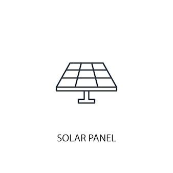 ソーラーパネルのコンセプトラインアイコン。シンプルな要素のイラスト。ソーラーパネルコンセプト概要シンボルデザイン。 webおよびモバイルui / uxに使用できます