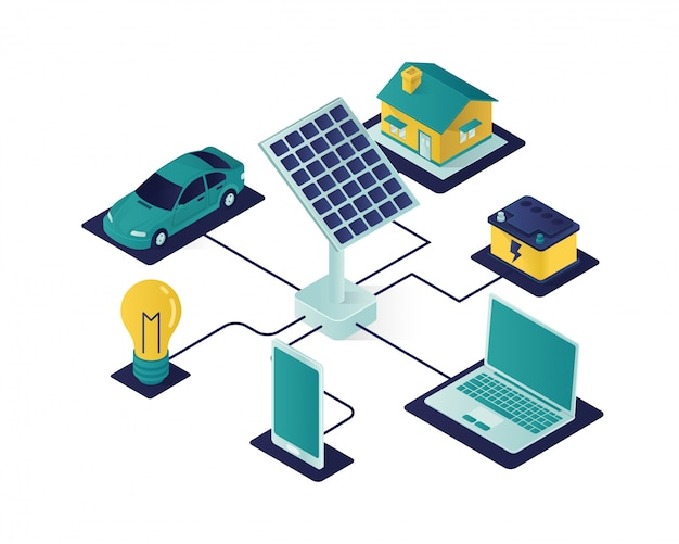 Solar panel energy isometric illustration