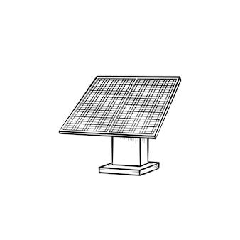 태양 전지 패널 손으로 그린 개요 낙서 아이콘입니다. 재생 에너지 장비 - 흰색 배경에 고립 된 인쇄, 웹, 모바일 및 infographics에 대 한 태양 전지 패널 벡터 스케치 그림.