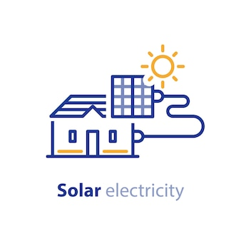 Solar panel on house roof, electrical services, energy saving concept, sun electricity, line icon